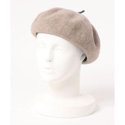帽子 バイカラーちょぼ付きベレー帽