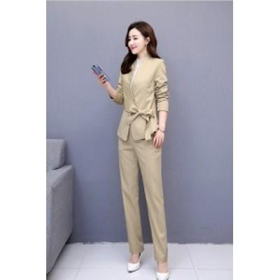 2色入 フォーマル パンツドレス パンツスーツ パンツスーツ ロング丈 スーツジャケット ストライプ  大きいサイズ セットアップ 上下セッ
