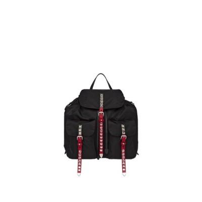 プラダ PRADA バッグ バック リュックサック ブラック レッド シルバー ファブリック ナイロン レザー