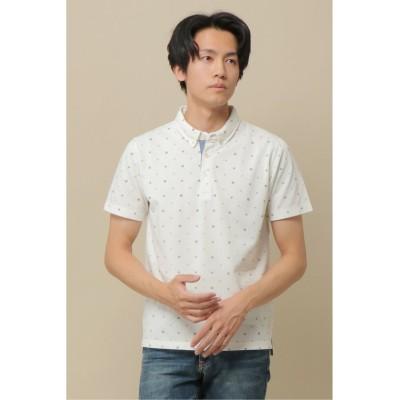 【イッカ】 カノコ小紋柄プリントポロシャツ メンズ ホワイト S ikka