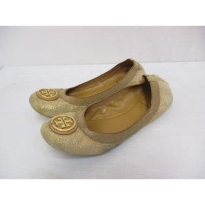【中古】トリーバーチ TORY BURCH ラメ ロゴ スエード フラット パンプス バレエ シューズ 7.5M 茶 ブラウン 靴