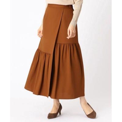 COMME CA ISM/コムサイズム 〈ウエストゴム〉ティアード ラップ風スカート キャメル L