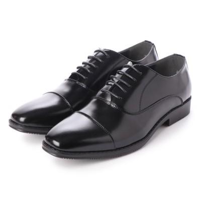ジーノ Zeeno ビジネスシューズ メンズ 幅広 3EEE 防滑 レースアップ ストレートチップ 内羽根 紳士靴 大きいサイズ対応 キングサイズ (Black)