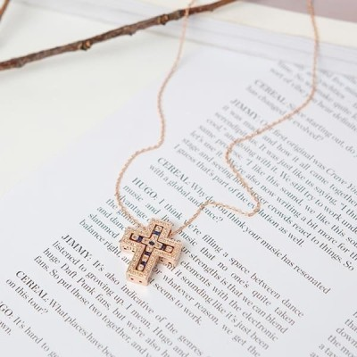 PIPPIN レディース ネックレス Cross Cubic Two-Tone Necklace #86434