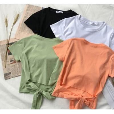 半袖 バックリボン Tシャツ シンプル カジュアル トップス 全4色 a01010