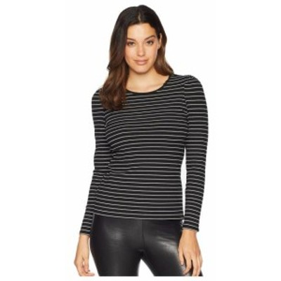 Vince Camuto ヴィンスカムート 服 一般 Long Sleeve Puff Shoulder Thin Ribbed Stripe Top