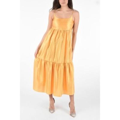 SIES MARJAN/シエスマルジャン Orange レディース Satin Maxi BRIANNA Flouced Dress with Flush Pockets dk