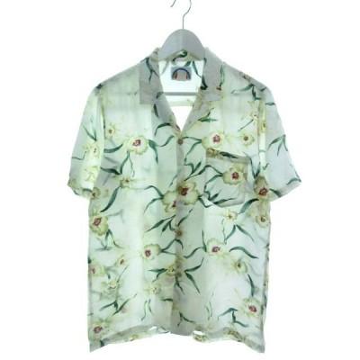 【中古】パラダイスファウンド PARADISE FOUND アロハシャツ 半袖 トップス 花柄 USA製 ホワイト S メンズ 【ベクトル 古着】