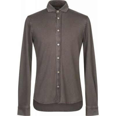 チルコロ1901 CIRCOLO 1901 メンズ シャツ トップス solid color shirt Dark brown
