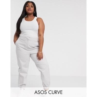 エイソス レディース カジュアルパンツ ボトムス ASOS DESIGN Curve high waist chino with jogger hem in gray