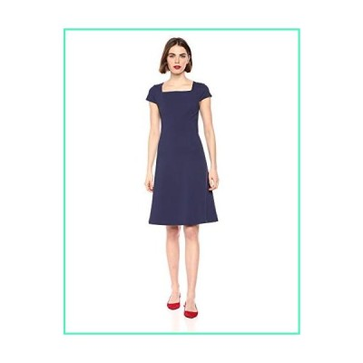 Lark & Ro Women's Cap Sleeve Square Neck Seamed Fit and Flare Dress, Midnight Blue 12並行輸入品