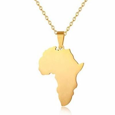 特別価格送料無料Warmsport ゴールドカラー アフリカ地図 旗ペンダントチェーンネック