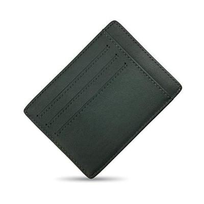 Xsimant 本革 カードケース 薄型 カード入れ お札入れ 男女兼用 (グリーン)