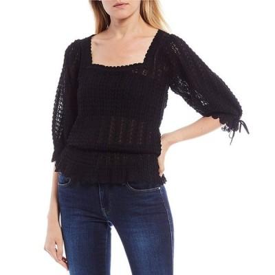 ゲス レディース シャツ トップス Kiera Puff Sleeve Pointelle Sweater Top