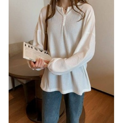 シャツ ラウンドネック前ボタンシャツ 長袖 シンプル 大きいサイズ