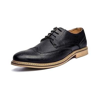[CHENGFA] ビジネスシューズ メンズ 牛革 レースアップ革靴 紳士靴 ウイングチップ ウォーキング (ブラック 26.0 cm 3E)