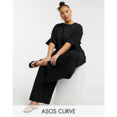 エイソス ASOS Curve レディース オールインワン ジャンプスーツ Asos Design Curve Jersey Smock Jumpsuit With Frill Sleeve In Black ブラック