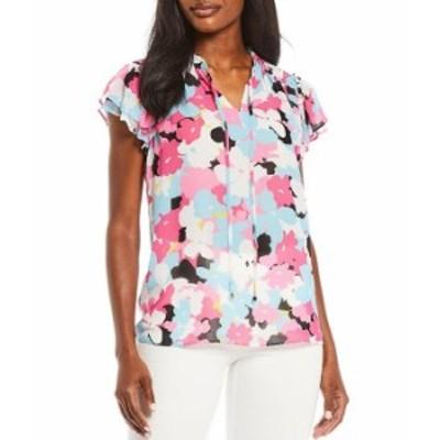 カルバンクライン レディース シャツ トップス Floral Print Chiffon Tassel Tie Notch Neck Flutter Sleeve Smocked Shoulder Detail To