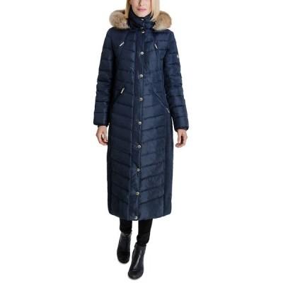 マイケルコース コート アウター レディース Faux-Fur Hooded Maxi Puffer Coat Navy