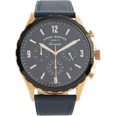 フォッシル Fossil メンズ 腕時計 クロノグラフ Forrester Chronograph Leather Watch - FS5814 Blue
