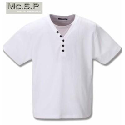 大きいサイズ Mc.S.P フェイクレイヤード半袖YヘンリーネックTシャツ ホワイト 3L 4L 5L 6L 8L 10L/1258-0235-1-35