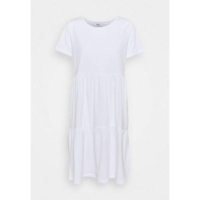 オンリー トール ワンピース レディース トップス ONLAYCA PEPLUM DRESS - Jersey dress - white