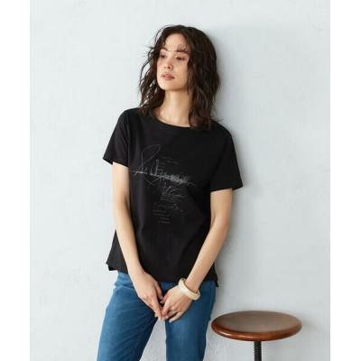 COMME CA ISM/コムサイズム 《コットン》 クルーネック プリントTシャツ ブラック S