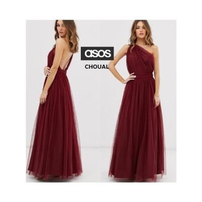 レディース 結婚式 二次会 ドレス ASOS ワンショルダーチュールマキシドレス