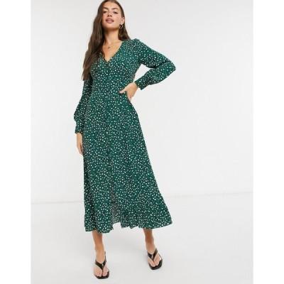 ホイッスルズ レディース ワンピース トップス Whistles leopard printed midi dress Green