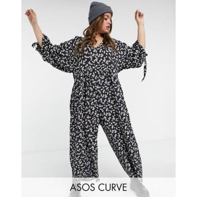 エイソス レディース ワンピース トップス ASOS DESIGN Curve smock jumpsuit in floral print