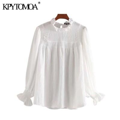 女性 2020 甘いファッションパッチワークフリルブラウスヴィンテージハイカラー長袖女性シャツ blusas トップス