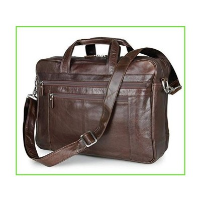 Portfolio Soft Leather Men's Briefcases 17 Inch Laptop Case Business Male Bag In Coffee coffee【並行輸入】【新品】