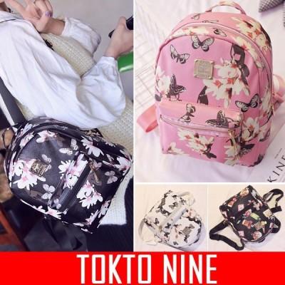 バッグ レディース カップル 個性的 ロゴ ジッパー ハンド リュック 花柄 蝶々 コスメ TOKYO9