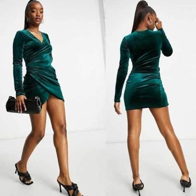 エイソス ドレス Vネック ASOS / Flounce London  シャーリングサイドラップドレス