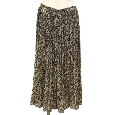 セレクション DRESSTERIOR プリーツ スカート レオパード 豹柄 ブラウン x ベージュ ポリエステル100% 2701 085-75033