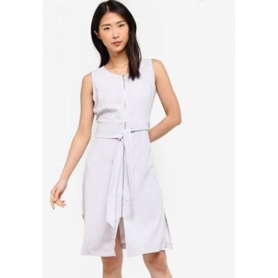 ザローラ ZALORA BASICS レディース ワンピース ワンピース・ドレス Basic Zip-Up Dress With Waist Tie Ice Grey