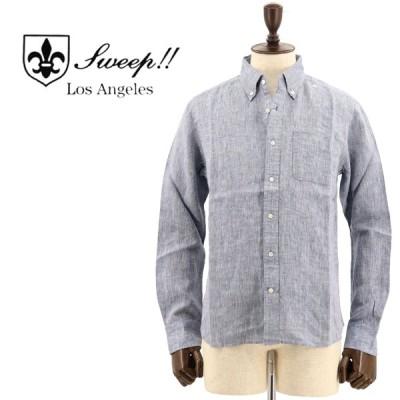 スウィープ ロサンゼルス Sweep!! LosAngeles  メンズ フレンチリネン ボタンダウンシャツ French Linen NAVY(ネイビー)