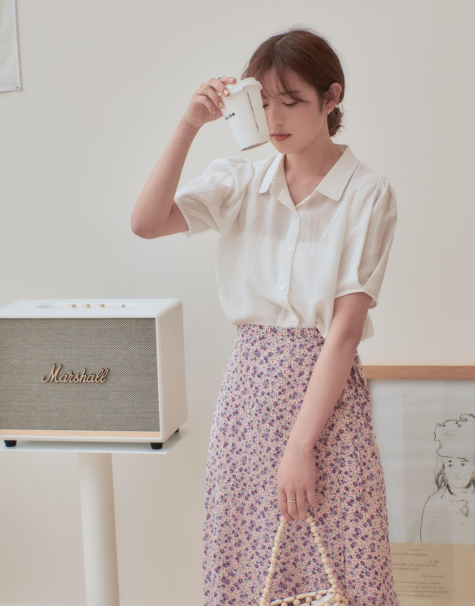韓系小清新泡泡袖襯衫-PAZZO