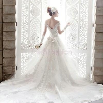 新品人気 ウェディングドレス 白 ウエディングドレス 花嫁ドレス トレーン 二次会ドレス 編み上げ パーティードレス ウェディング 大きいサイズ 結婚式 披露宴