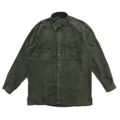 フェイクスウェード ボックスシャツ 長袖 オリーブグリーン サイズ表記:L
