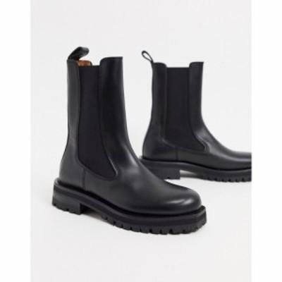 アンドアザーストーリーズ and Other Stories レディース ブーツ チャンキーヒール シューズ・靴 Leather Tall Chunky Flat Boots In Bla