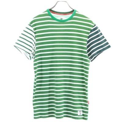 アディダス アディダスオリジナル ボーダー 半袖 Tシャツ S グリーンx白 adidas 切替 メンズ 古着 200710 メール便可 ns-0922