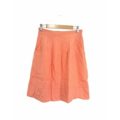 【中古】アプワイザーリッシェ Apuweiser-riche スカート 台形 ひざ丈 ジップフライ 光沢 1 オレンジ /KS レディース