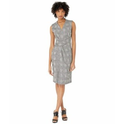 アダム リピズ レディース ワンピース トップス Double Faced Plaid Wool V-Neck Dress w/ Draped Waist Black/White
