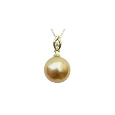 ゴールデンパール ペンダントトップ 真珠 10mm 南洋白蝶真珠 ダイヤモンド 0.01ct K18 ゴールド シンプル 冠婚葬祭