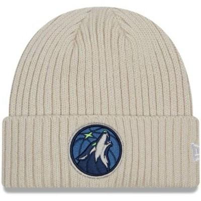 ニューエラ メンズ 帽子 アクセサリー Minnesota Timberwolves New Era Core Classic Stone Cuffed Knit Hat Cream