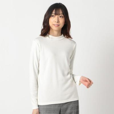 レディース 【在庫限り】婦人 裏起毛ハイネックTシャツ ホワイト LL