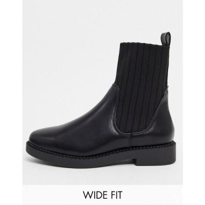 エイソス ASOS DESIGN レディース ブーツ シューズ・靴 Wide Fit Amanda chunky sock boots in black ブラック