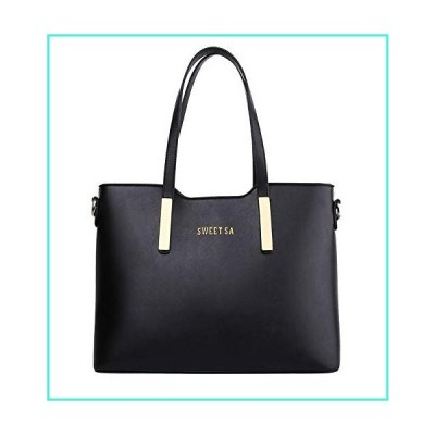 【新品】JHVYF Women Casual Pu Leather Shoulder Bag Top Handle Handbag Purse Black L(並行輸入品)