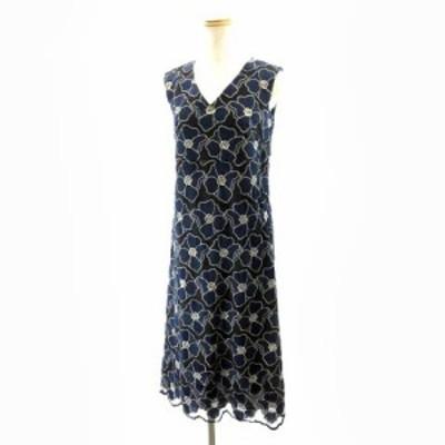 【中古】グレースクラス GRACE Class 18SS 花刺繍 ノースリーブワンピース ドレス ひざ丈 紺 ネイビー 36 約S IBO7 レディース